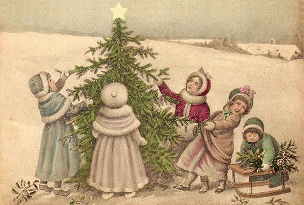 Новый год на старинных русских открытках