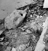 В саду  рейхсканцелярии у бункера: валяется бюст фюрера, и сморщенный, пробитый  осколками глобус.