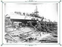 Спуск канонерских лодок на воду на реке Шилке
